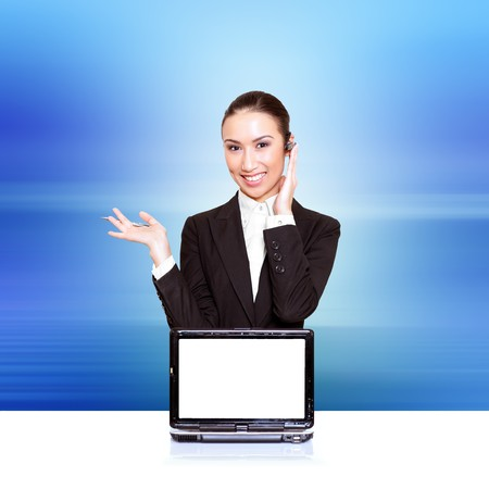 resourceful: Business woman with a laptop with a opened screen. Insert your graphics on screen � very resourceful. Please see some of my other business images:  Stock Photo