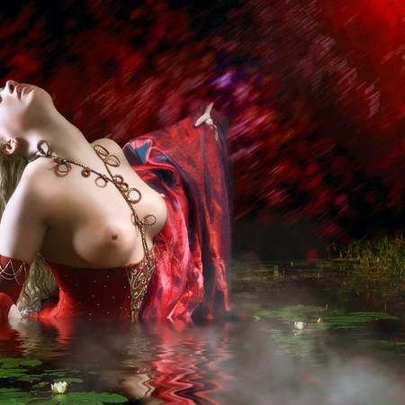 Bared M�dchen in einem roten Kleid in Wasser mit bl�henden Lilien. Bitte sehen Sie einige meiner Bilder anderen Unternehmen: Lizenzfreie Bilder
