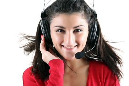Portrait of the smiling receptionist in headset. photo