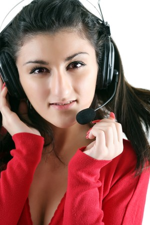 Portrait of the receptionist in headset. photo