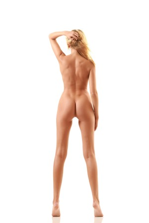 Body of the bared blonde from a back. Stock Photo