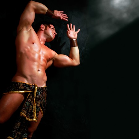 Man with the bared torso in a loincloth Stock Photo