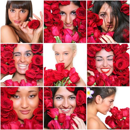 Portraits of the beautiful girls with red roses