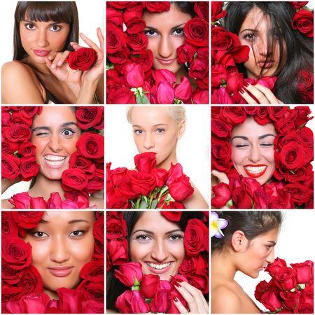 Retratos de las hermosas chicas con rosas rojas Foto de archivo - 4592177