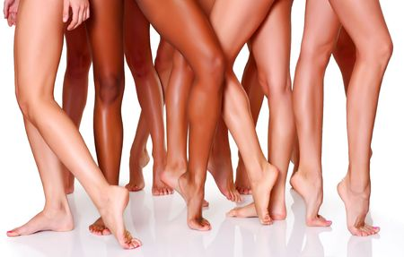 Beautiful female slim feet of group of girls Stock Photo - 4681382