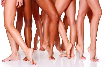 Sch�ne Frauen schlanke F��e der Gruppe der M�dchen Lizenzfreie Bilder