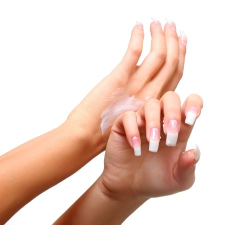 Beautiful female gentle brushes of hands with manicure photo