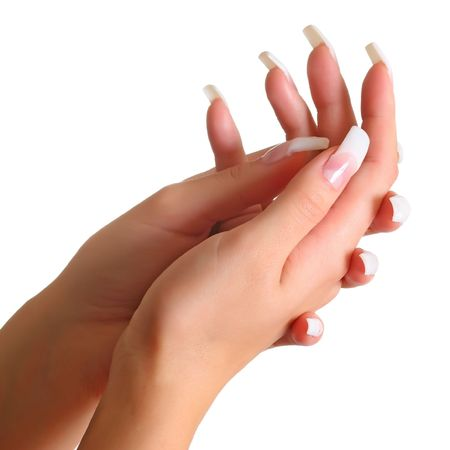 Beautiful female gentle brushes of hands with manicure, isolated on a white background, please see some of my other parts of a body images: Stock Photo