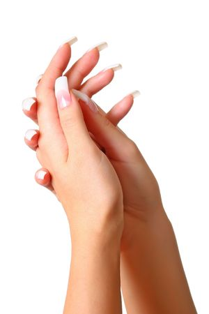 decotated: Beautiful female gentle brushes of hands with manicure, isolated on a white background, please see some of my other parts of a body images: Stock Photo