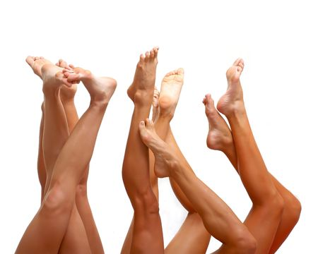 bared: Well-groomed bared a foot of female feet, isolated on a white background, please see some of my other parts of a body images