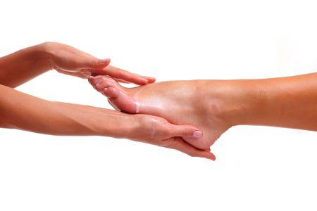 Massage und dem Ausscheiden aus der weiblichen F��e Bared von einem Fu�, isoliert auf wei�em Hintergrund, finden Sie einige meiner anderen Teilen des K�rpers Bilder