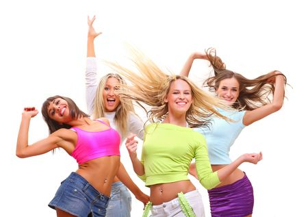 Four beautiful happy young women with a smile in bright multi-coloured clothes, isolated on a white background Standard-Bild
