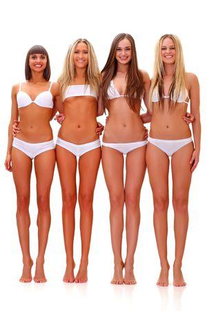 Drei harmonous braungebrannte junge Frauen in vollem Wachstum, in wei�e Unterw�sche, isoliert auf wei�em Hintergrund, finden Sie einige meiner anderen Teilen des K�rpers Bilder: