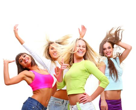 Four beautiful happy young women with a smile in bright multi-coloured clothes photo