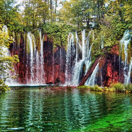 tremendous: Tremendous beautiful kind on gorge with falls Stock Photo