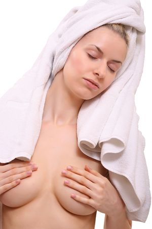 Portrait of a naked beautiful woman getting ready for the spa treatment Stock Photo - 4904012