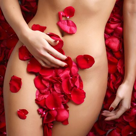 Beautiful body of woman against petals of red roses Stock Photo - 4904013