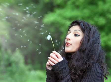 Summer fun, young beautiful woman with magnificent hair, blowing dandelion on the meadow photo