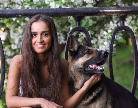 german girl: Woman and shepherd