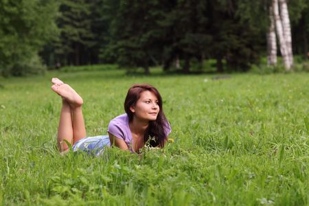 Portrait of the beautiful young girl in the spring in park Stock Photo - 5088027