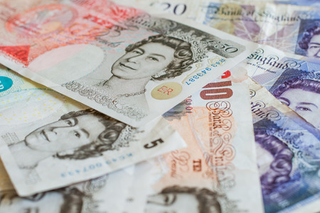 gbp: Pile of money british pounds sterling gbp for business and finance Stock Photo