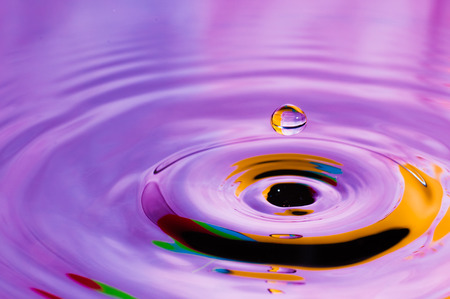 ripple effect: Abstract background colorful water droplet making splash and ripple effect