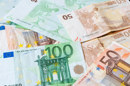 Pile of money Euros for business and finance