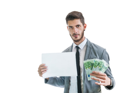 card making: Successful business man holding money and blank card, making easy money isolated on white