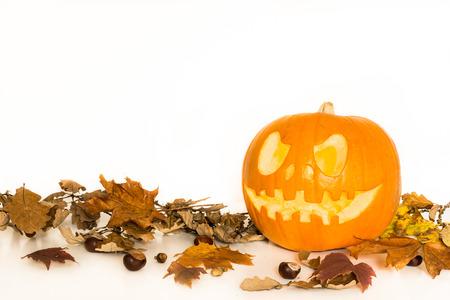 calabazas de halloween: Calabaza de Halloween con hojas de oto�o aislado en un fondo blanco con copia espacio para el texto