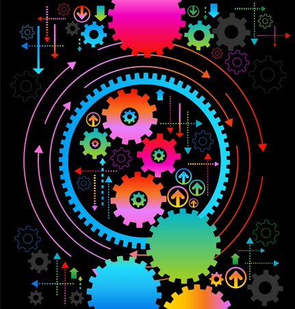 gears concept: background consisting of bright gears and arrows.the concept of motion Illustration