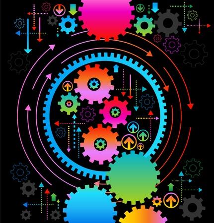 gears: de fondo que consiste en engranajes brillante y el concepto de movimiento arrows.the