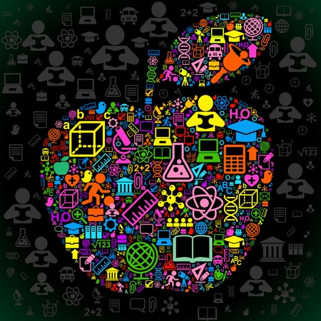 the concept of love to the knowledge of.the background of the characters school science forming the shape of the apple Illustration