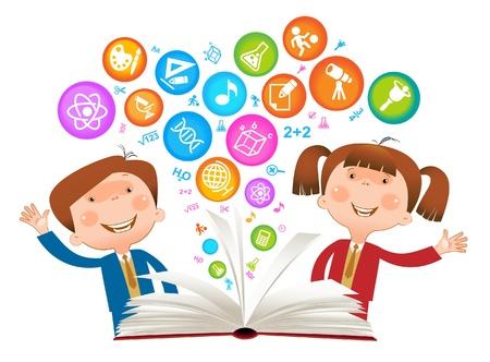 Niño libro symbol.The Facultad de Ciencias Ilustración de vector