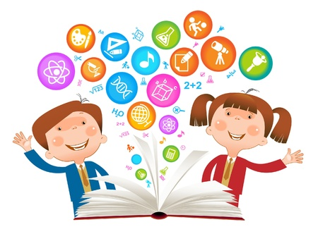cognicion: Niño libro symbol.The Facultad de Ciencias Vectores