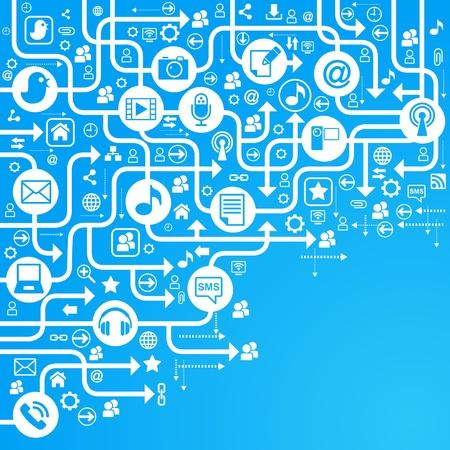 сеть: вектор фон иконки социальных сетей компьютеров Иллюстрация
