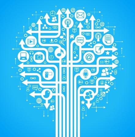 e commerce icon: el �rbol que consta de las flechas y los iconos sobre el tema de los medios sociales