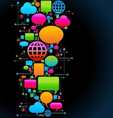 het concept van de communicatie van mensen die via een wereldwijd computernetwerk