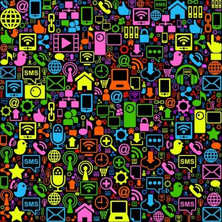 medios de comunicacion: vector de fondo de la red inform�tica iconos sociales Vectores