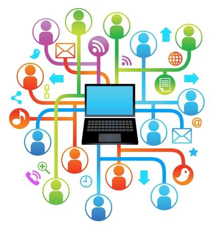 interaccion social: laptop.communication red social en las redes mundiales de informática