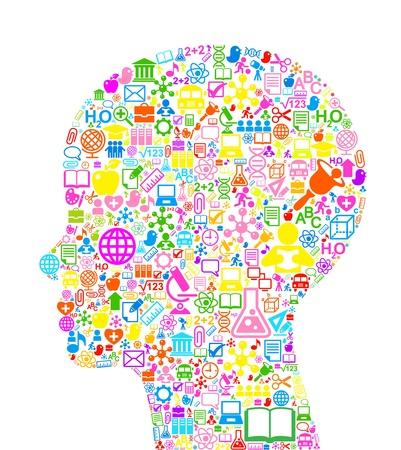 vzdělání: pojetí učení. Vektorové pozadí z mnoha ikon na téma vzdělávání