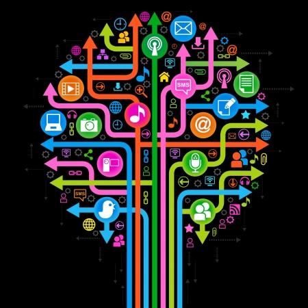interaccion social: el árbol que consta de las flechas y los iconos sobre el tema de los medios sociales