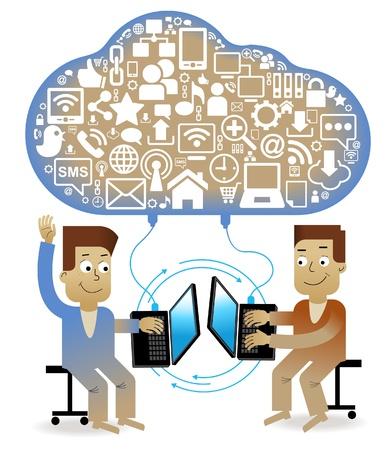 commerce communication: communication-person.Cartoon communication concept