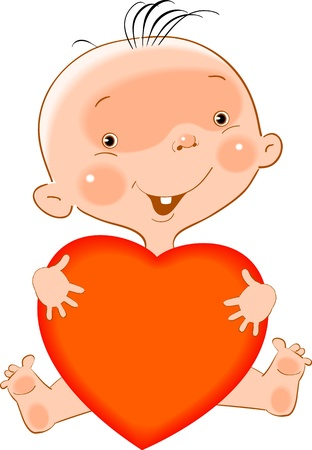 sedentary: a small child holds in his hands the heart Illustration