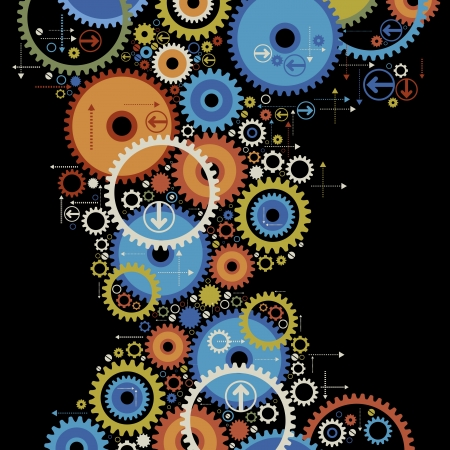 cog: background consisting of bright gears and arrows.the concept of motion Illustration