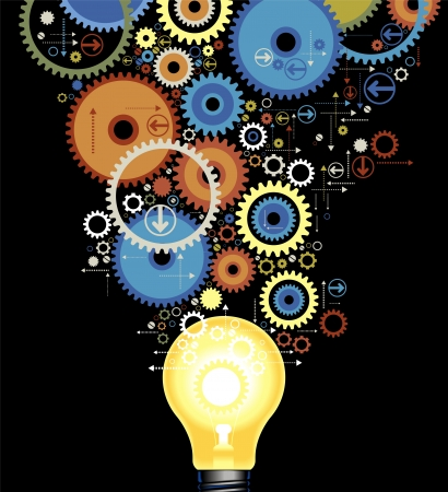 idea icon: set of color gears out of the luminescent lamps Illustration