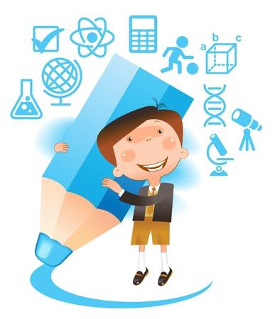 sciences: boy with pencil.THE SCHOOL OF SCIENCES Illustration