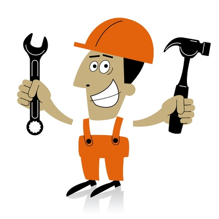 builder.cartoon builder, rendering of services on the repair and construction of Vector