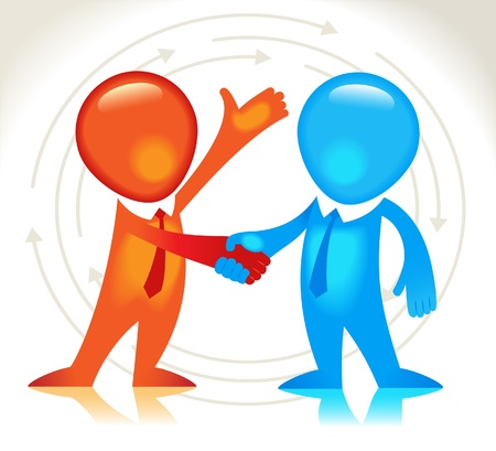 change of direction: Business hand shake. The business agreement Illustration