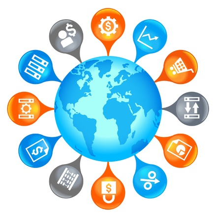 e data: business Globe.the graphical display of the global business Illustration