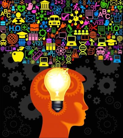psicologia infantil: El concepto de formación de recursos humanos y knowledge.Children Aprender a pensar Vectores